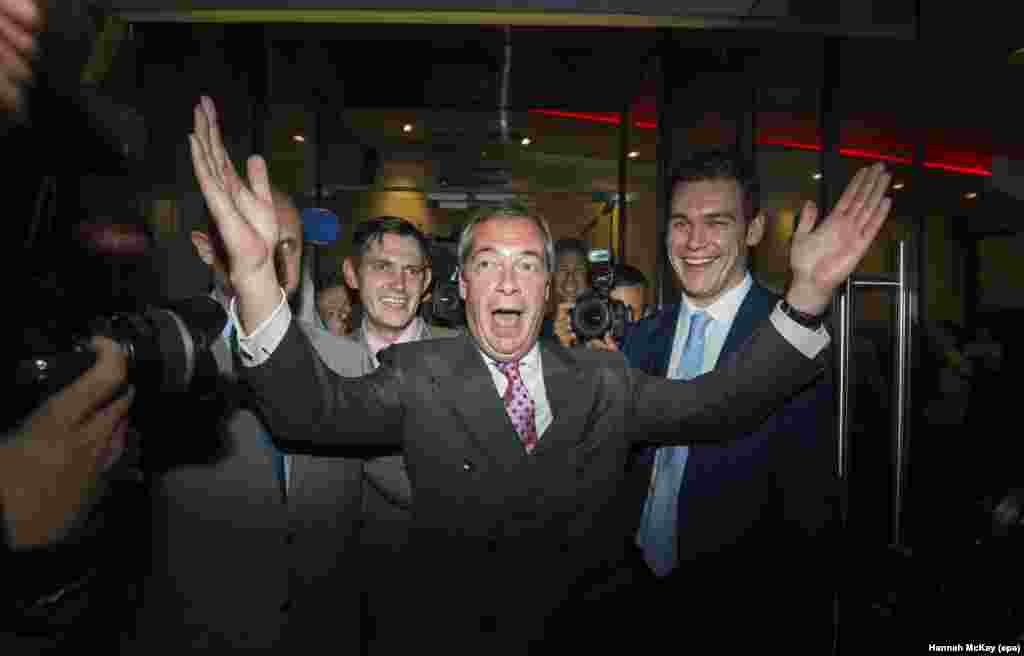 Nigel Farage, the leader of the U.K. Independence Party (UKIP), celebrates in London after British voters cast their ballots in favor of leaving the EU in the Brexit referendum on June 23. (epa/Hannah McKay)
