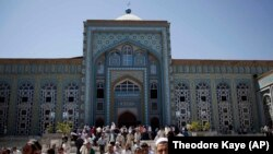Worshippers gather for Friday Prayers during Ramadan in Dushanbe's Central Mosque in 2011.