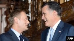 Дональд Туск і Міт Ромні ў Варшаве