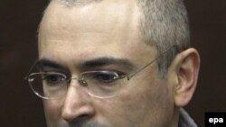 Mikhail Khodorkovsky appears in court on March 31.