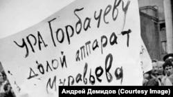 На митинге против первого секретаря обкома КПСС Евгения Муравьева (руководил с 1979 по 1988). Фото 1988 года