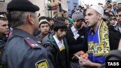 Мәскеудің орталығында мұсылмандар исламды қаралайтын фильмге қарсы наразылық акциясына шықты. Мәскеу, 21 қыркүйек 2012 жыл.