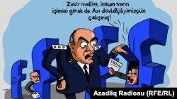 """""""Zakir Qaralov və Facebook"""". Karikatura. Gündüz Ağayev"""