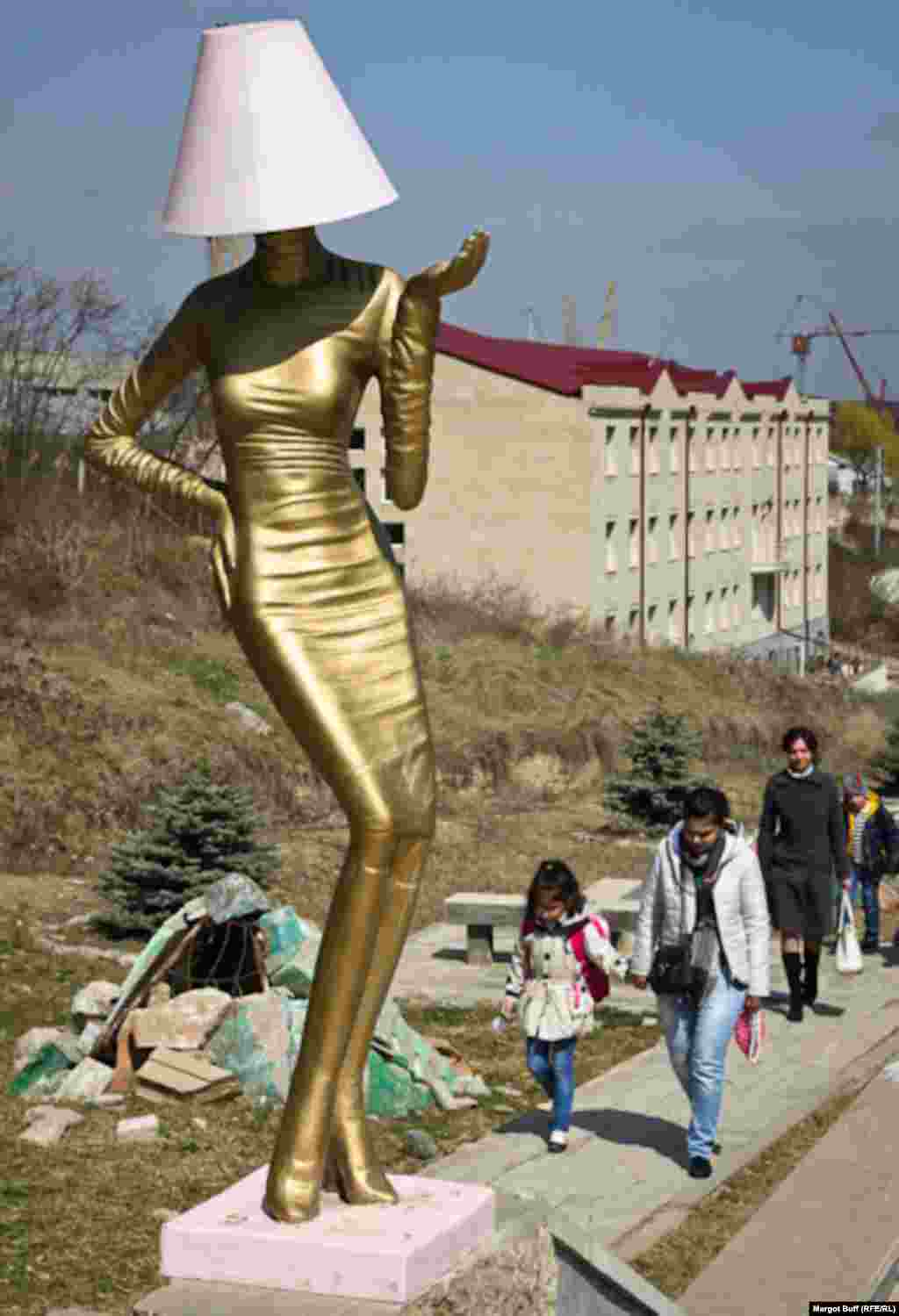 A public art installation enlivens a walkway in central Stepanakert.