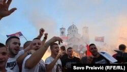 Përkrahësit e opozitës në Podgoricë, 31 gusht, 2020.