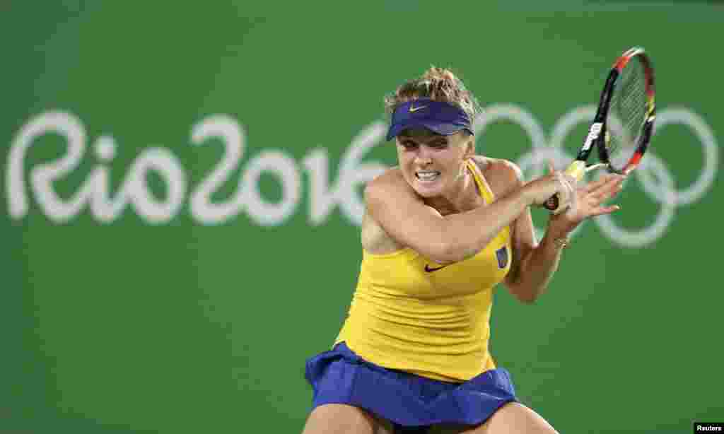 Elina Svitolina of Ukraine in action as she beat four-time Olympic champion Serena Williams of the United States.
