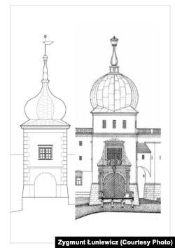 Як можа выглядаць брамная вежа: зьлева варыянт Луневіча, справа Бачкова