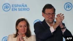 Испанияның консервативтік Халықтық партиясының жетекшісі Мариано Рахой мен оның жұбайы Эльвира Фернандес.