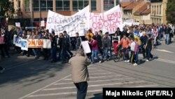 Sa protesta na Međunarodni praznik rada, Tuzla, 1. maj 2014.