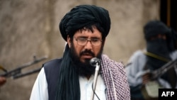 Mullah Mohammad Rasul, the newly appointed leader of a breakaway faction of the Taliban, addresses a gathering of supporters at Bakwah in the western province of Farah on November 3.