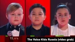 Финалисты конкурса «Голос.Дети» (слева направо): Валерий Казаков, Ержан Максим и Микелла Абрамова.
