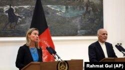 Șefa diplomației europene, Federica Mogherini și președintele afgan, Ashraf Ghani,Kabul, 26 martie 2019