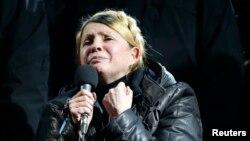Юлія Тимошенко під час виступу на Майдані, 22 лютого 2014 року