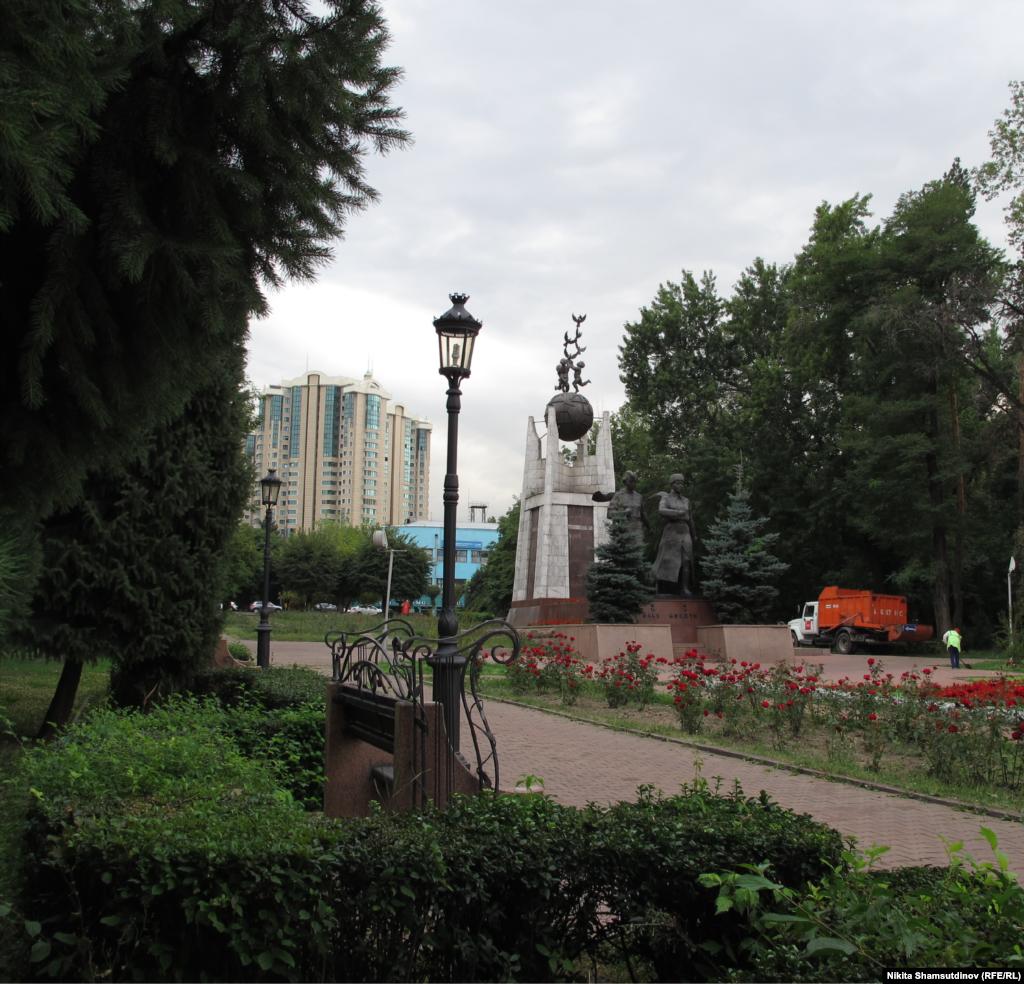 Kazakhstan - Monument to Manshuk Mametova and Aliya Moldagulova, Heroes of the Soviet Union who died in World War II. Almaty, July 2020.