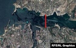 Приблизительное место расположения мостового перехода через Севастопольскую бухту