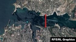 Карта возможного расположения предполагаемого моста через Севастопольскую бухту