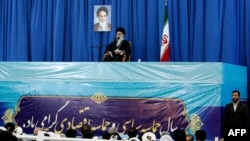 Iran's Supreme Leader Ayatollah Ali Khamenei addresses thousands of Iranians in the the holy city of Mashhad on March 21.