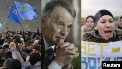 Crimean Tatar demonstrations. Tatar leader Mustafa Dzhemilev.