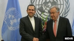 مجید تخت روانچی در کنار آنتونیو گوترش، دبیرکل سازمان ملل