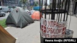 Protest dužnika u 'švajcarcima' ispred Vlade Srbije