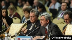 Armenian President Serzh Sarkisian addresses the OSCE summit in Astana.