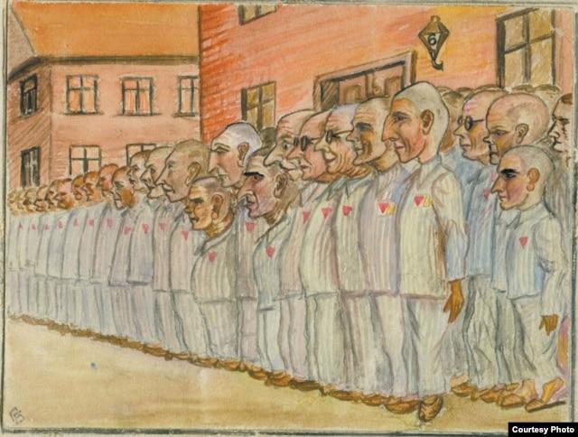 Апель шостого блоку. У шерензі стоять оунівці, що прибули 8 серпня 1942 р. (з «Альбому політв'язня», автор малюнка - член ОУН(б) Петро Балей)