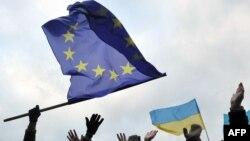 Ілюстраційне фото. Прапор ЄС під час Євромайдану у Львові, грудень 2013 року