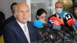 Valentin Inzko speaks to the press in Mostar on June 17.