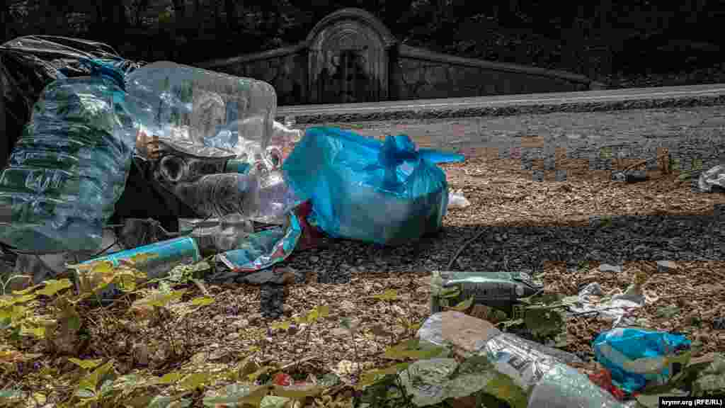 Напротив источника кто-то оставил кучу мусора