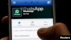 WhatsApp хат-хабар алмасу қосымшасын қарап отырған адам. (Көрнекі сурет).