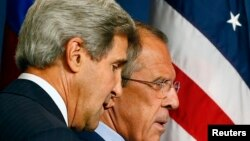 Ջոն Քերրին և Սերգեյ Լավրովը Ժնևում համատեղ ասուլիսի ժամանակ, 12-ը սեպտեմբերի, 2013թ․