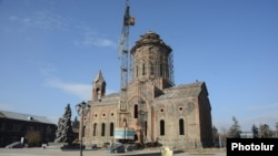 Armenia - A 19th century church in Gyumri's central square that was seriously damaged by a 1988 earthquake and is still being reconstructed, 24Nov2013.