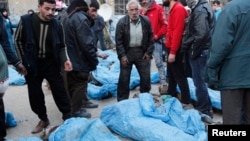 Սիրիա - Հալեպում 65 կապկպված անձանց, ենթադրաբար` գերիների դիակներ են հայտնաբերվել, 29-ը հունվարի, 2013թ.