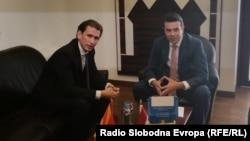 Министерот за надворешни работи Никола Попоски сo неговиот австриски колега Себастијан Курц во Скопје