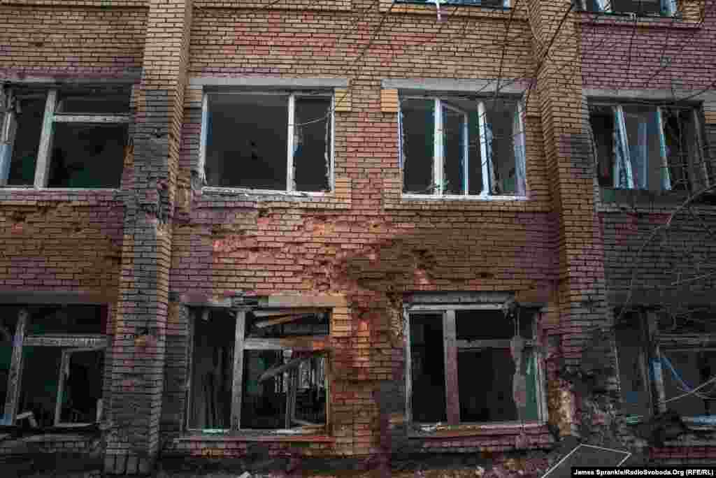 It's still standing but the windows were blown out, and masonry shattered. Shelling in Donetsk continued on January 20.
