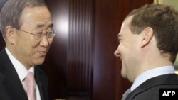 Russian President Dmitry Medvedev (right) greets UN Secretary-General Ban Ki-moon in Gorki on April 22.