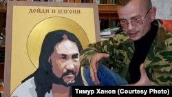 Художник Константин Еременко у портрета Александра Габышева