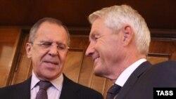 Министр иностранных дел России Сергей Лавров и генеральный секретарь Совета Европы Турбйорн Ягланд (слева направо)