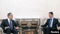 Orsýetiň daşary işler ministri Sergeý Lawrow Damaskda Siriýanyň prezidenti Başar al-Assad bilen duşuşdy, 7-nji fewral.
