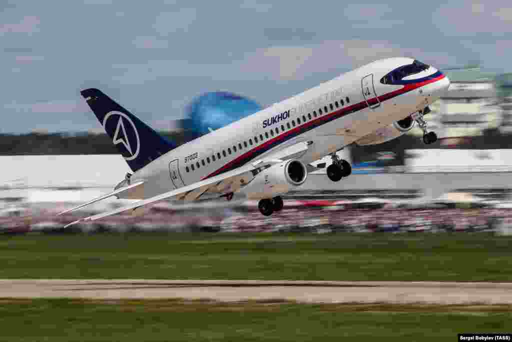 A Superjet makes a low pass at a Moscow airshow. By 2015 the Superjet was considered largely an engineering success, but sales were slow.