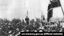 Речь матроса-украинца летом 1917 года в Севастополе перед украинизированными частями морской пехоты «Специальной десантной дивизии»