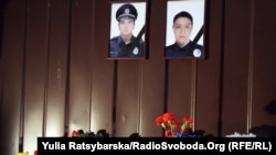 A memorial in Dnipro commemorating the two slain police officers