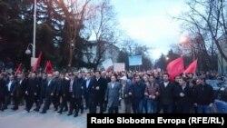 Pamje nga protestat kundër ngritjes së kryqit në Butel, 3 mars.