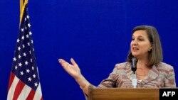 Вікторія Нуланд на прес-конференції в Москві, 18 травня 2015 року