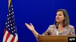 Помічник держсекретаря США Вікторія Нуланд під час прес-конференції у Москві. 18 травня 2015 року