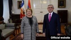 Չիլիի և Հայաստանի նախագահներ Միշել Բաշելեն և Սերժ Սարգսյանը