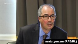 Armenia -- Hossein Samiei, head of an IMF mission to Armenia, at a news conference in Yerevan, 12Apr2017.