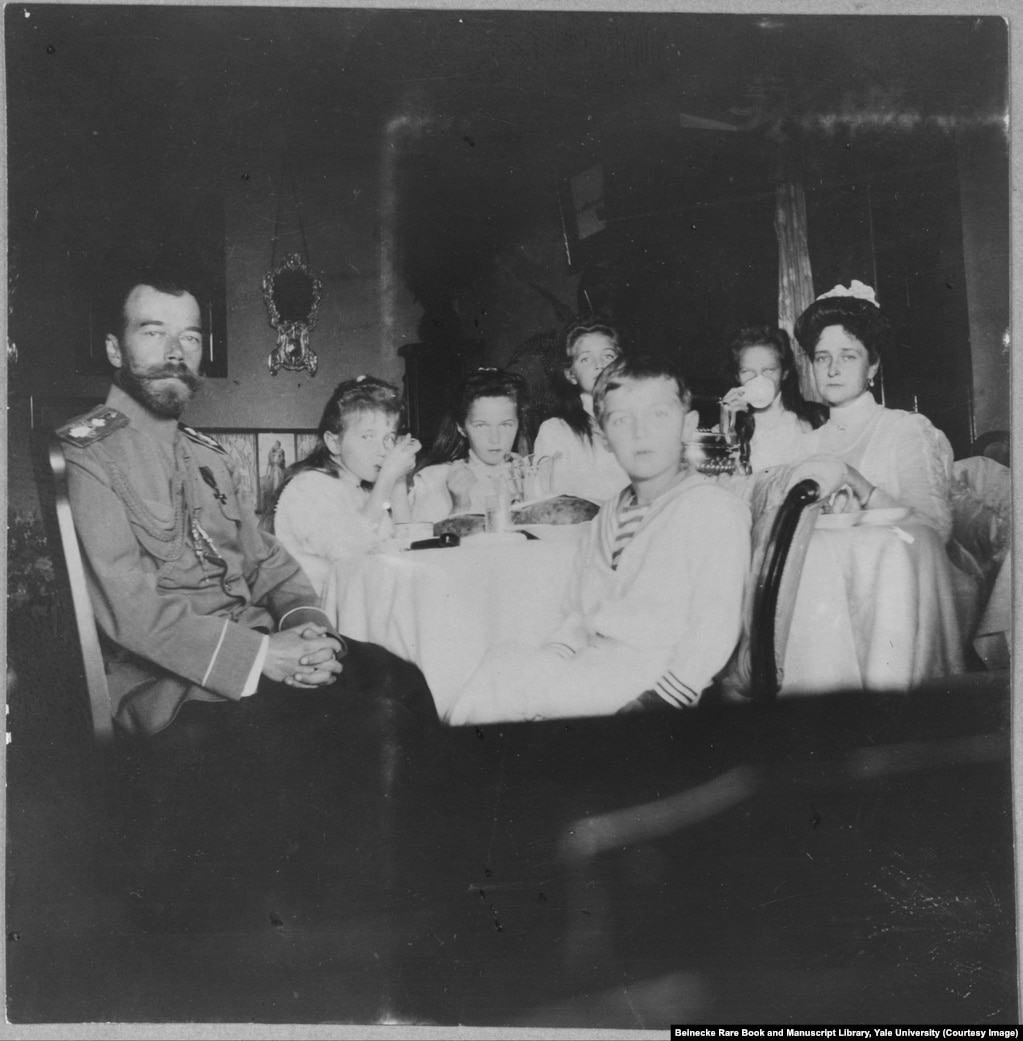 Nicholas II and his wife, Empress Aleksandra (far right), with their four daughters and son. The tsar was forced to abdicate in 1917 and he and his family were shot and stabbed to death by Bolshevik troops, in 1918, before their bodies were doused in acid and dumped into a mine shaft.