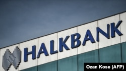 TURKEY -- (FILES) This file photo taken on December 2, 2017 shows the logo of the Turkish Halkbank in Istanbul.