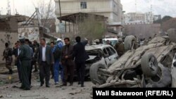 A suicide attack near the Afghanistan finance ministry in Kabul on March 25.